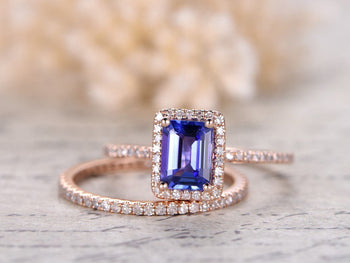 1.50 Carat Halo Emerald Cut Tanzanite and Diamond Half Infinity Band Wedding Ring Set