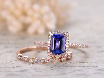 1.50 Carat Emerald Cut Tanzanite Diamond Art Deco Wedding Ring Sets in Rose Gold