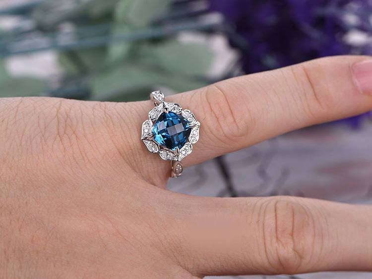 1.50 Carat Cushion Cut London Blue Topaz and Diamond Art Deco Engagement Ring in White Gold