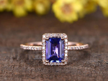 1.50 Carat Emerald Cut Tanzanite Diamond Halo Half Eternity Engagement Ring in Rose Gold