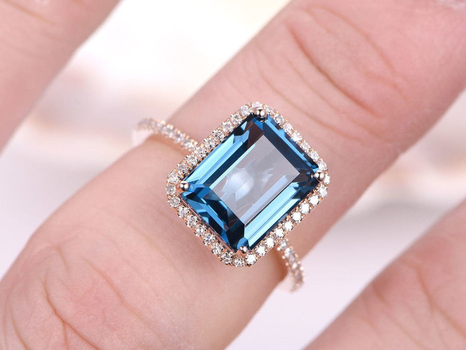 1.50 Carat Emerald Cut London Blue Topaz Halo Half Eternity Engagement Ring in Rose Gold
