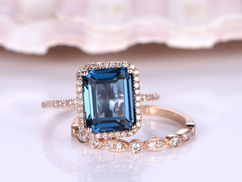2 Carat Emerald Cut London Blue Topaz and Diamond Art Deco Half Eternity Wedding Ring Set in Rose Gold