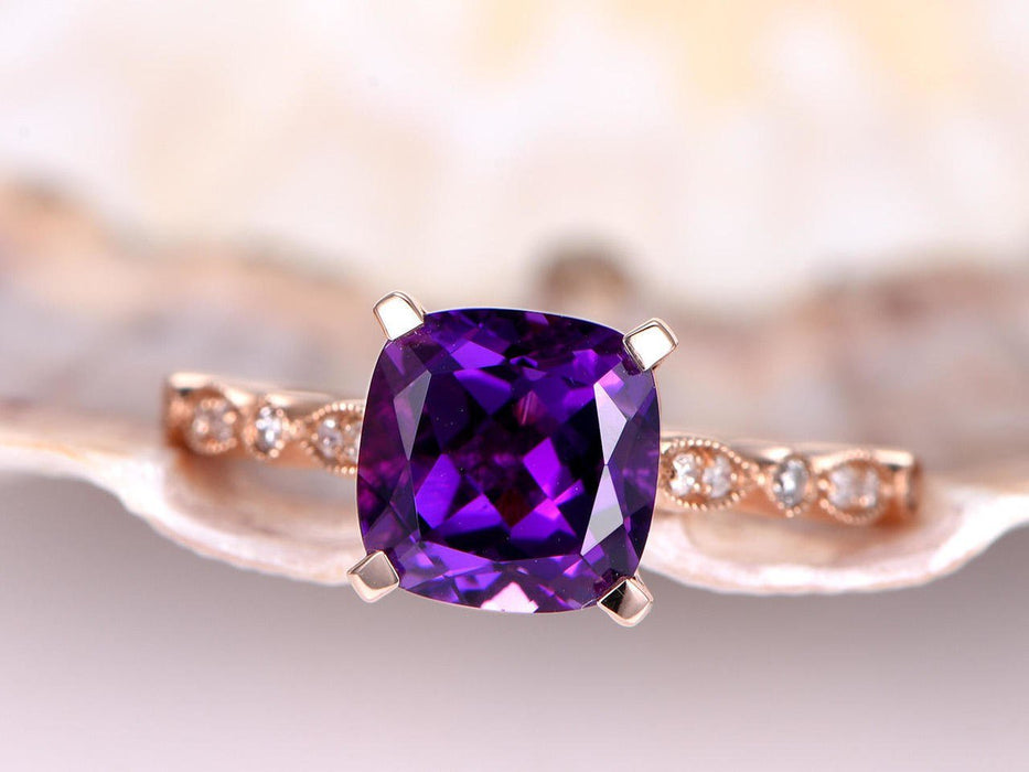 1.50 Carat Cushion Amethyst and Diamond Antique Engagement Ring in Rose Gold