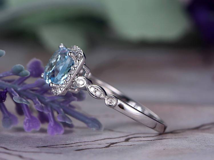 1.25 Carat Cushion Cut Sky Topaz Engagement and Diamond Art Deco in White Gold