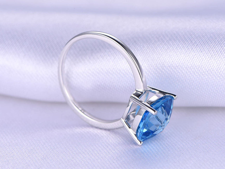 1 Carat Cushion London Blue Topaz Solitaire Engagement Ring in White Gold