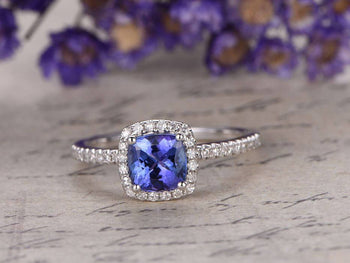 1.50 Carat Cushion Cut Tanzanite Diamond Halo Half Infinity Engagement Ring in White Gold