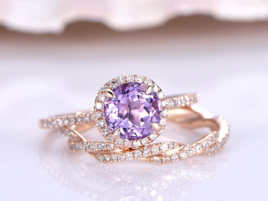 2.5 Carat Round Cut Amethyst and Diamond Halo and Twist Infinity Shape Wedding Ring Set in Rose Gold