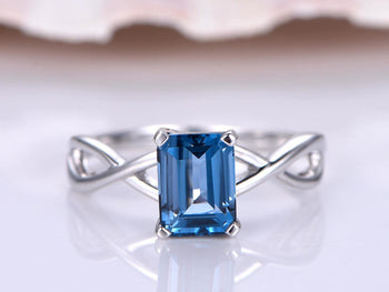 1.25 Carat Emerald Cut London Blue Topaz Solitaire Engagement Ring in White Gold