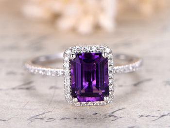 1.50 Carat Emerald Cut Amethyst and Diamond Engagement Ring in White Gold