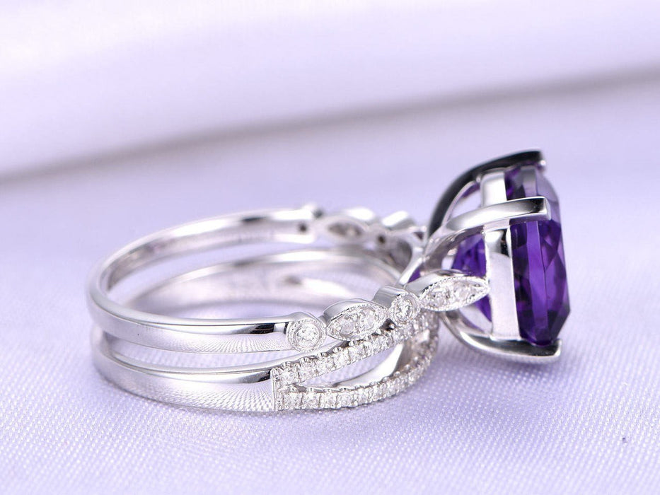 2 Carat Cushion Amethyst and Diamond Split Shank Engagement Wedding Ring Set in White Gold