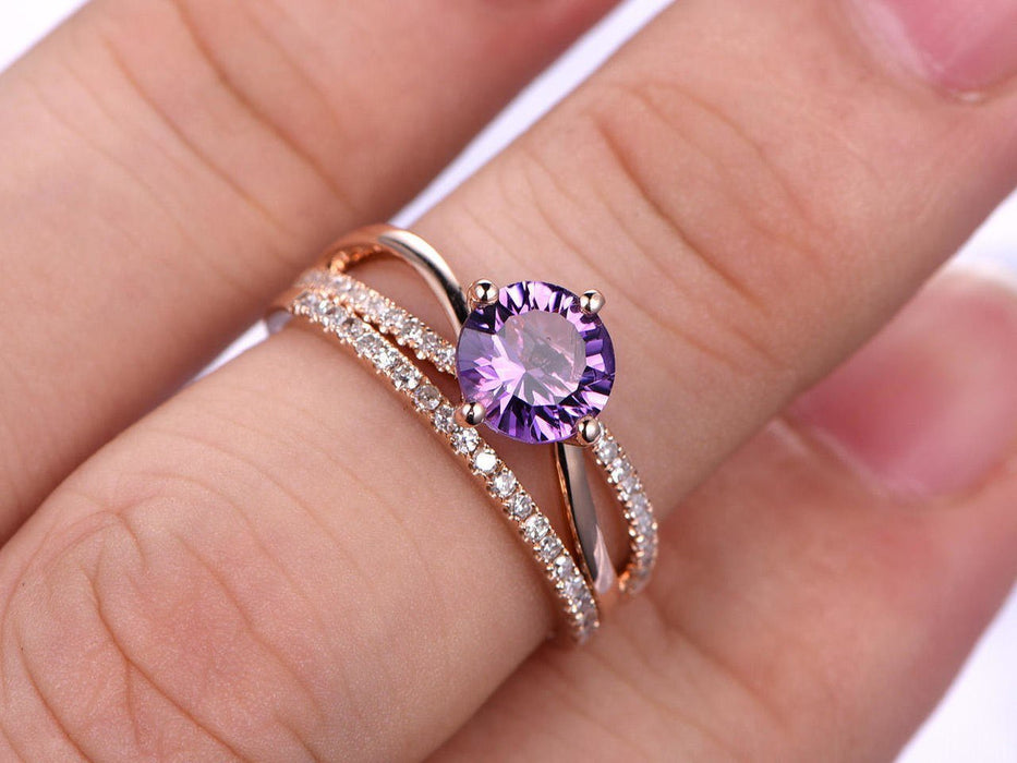 1.50 Carat Round Amethyst and Diamond Split Shank Half Eternity Engagement Wedding Ring set in Rose Gold