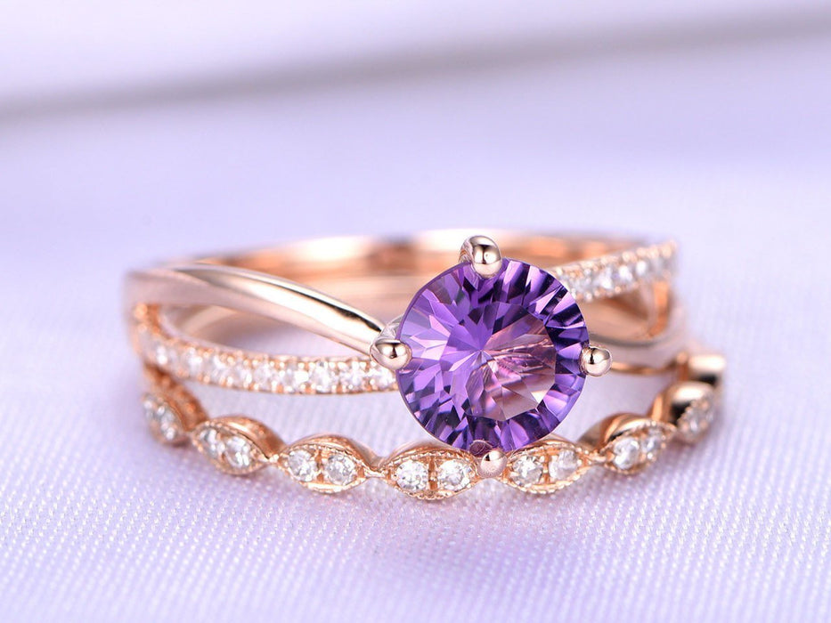 1.50 Carat Round Amethyst and Diamond Twisted Migraine Engagement Ring in Rose Gold