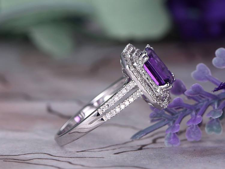 2 Carat Emerald Amethyst and Diamond Halo Split Shank Engagement Ring in White Gold