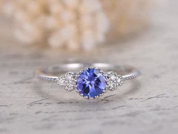 Unique 1.25 Carat Round Cut Tanzanite Diamond Carved Engagement Rings in White Gold