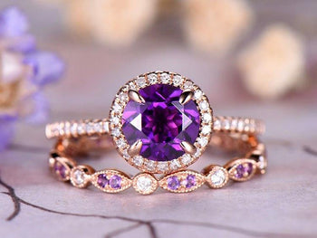 2.5 Carat Round Amethyst and Diamond Art Deco Wedding Ring Set in Rose Gold