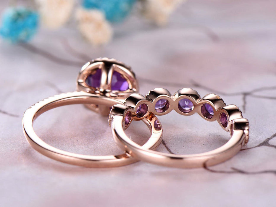 2 Carat Round Amethyst and Diamond Eternity Engagement Wedding Ring Set in Rose Gold