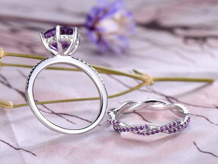 Unique 2 Carat Round Amethyst and Diamond Twist Infinity Wedding Ring Set in White Gold