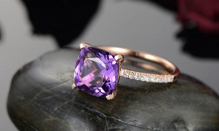 1.25 Carat Cushion Amethyst and Diamond Engagement Ring in Rose Gold