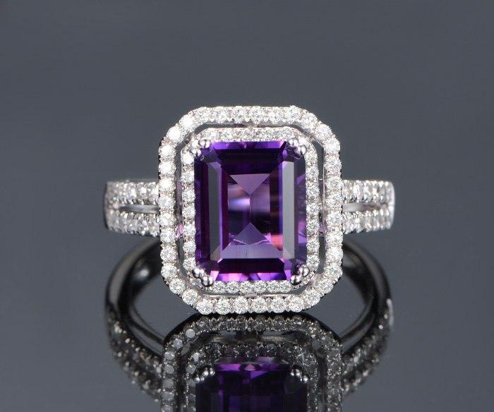 2 Carat Emerald Amethyst and Diamond Two Fully Split Shank Engagement Wedding Ring in White Gold