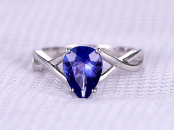 1 Carat Pear Cut Tanzanite Cross Band Solitaire Engagement Ring in White Gold