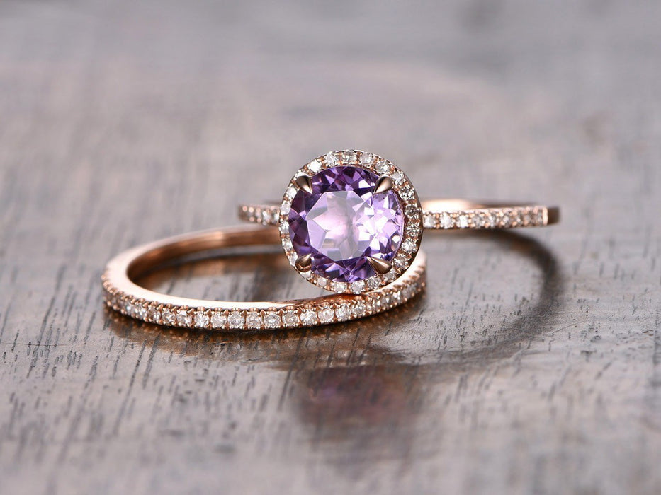 1.50 Carat Round Amethyst and Diamond Half Eternity Engagement Wedding Ring Set in Rose Gold