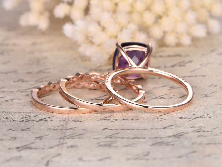 2 Carat Cushion Amethyst and Diamond Art Deco Trio Ring Set in Rose Gold