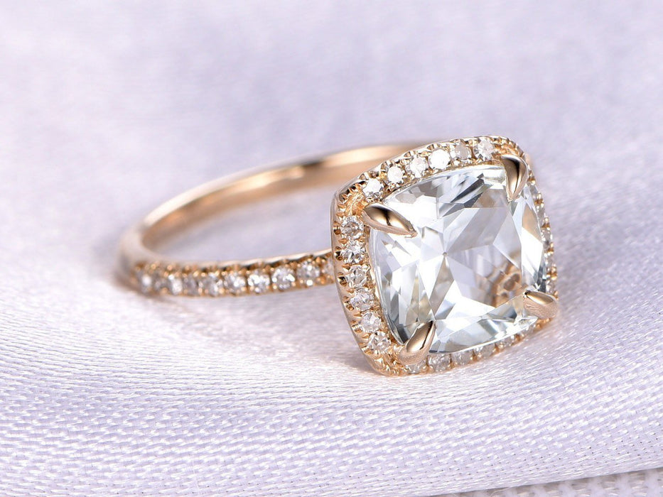1.50 Carat Cushion Cut White Topaz and Diamond Halo Engagement Ring in Yellow Gold