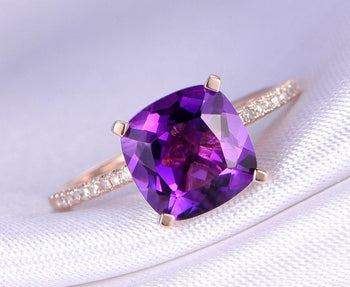 1.50 Carat Round Amethyst and Diamond Engagement Ring in Rose Gold