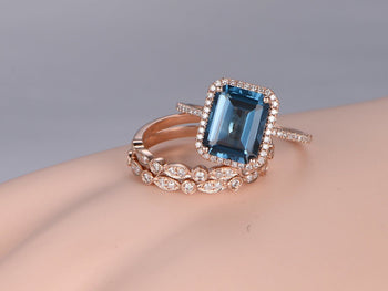 2 Carat Emerald Cut London Blue Topaz and Diamond Art Deco Half Infinity Trio Ring Set in Rose Gold