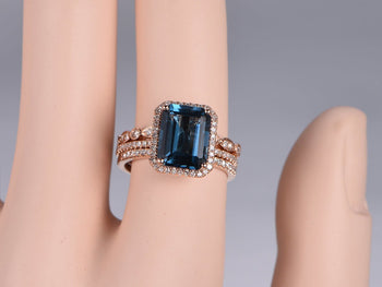 2 Carat Emerald Cut London Blue Topaz and Diamond Art Deco Half Eternity Trio Ring Set in Rose Gold