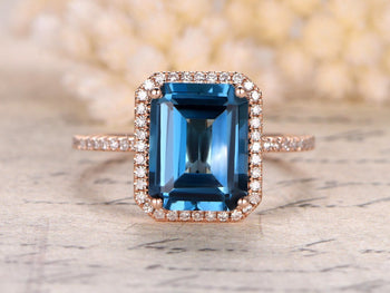 1.50 Carat Emerald Cut London Blue Topaz and Diamond Engagement Ring in Rose Gold