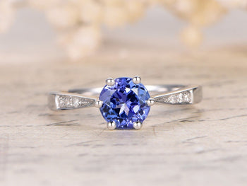 1.25 Carat Solitaire Round Cut Tanzanite and Diamond Engagement Rings in White Gold