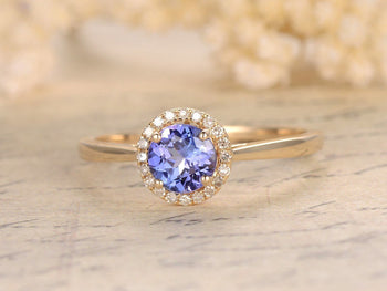 1.25 Carat Round Tanzanite Diamond Milgrain Engagement Rings in White Gold