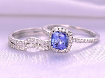 2.50 Halo Cushion Tanzanite and Half Infinity Diamond  Wedding Rings Set in White Gold