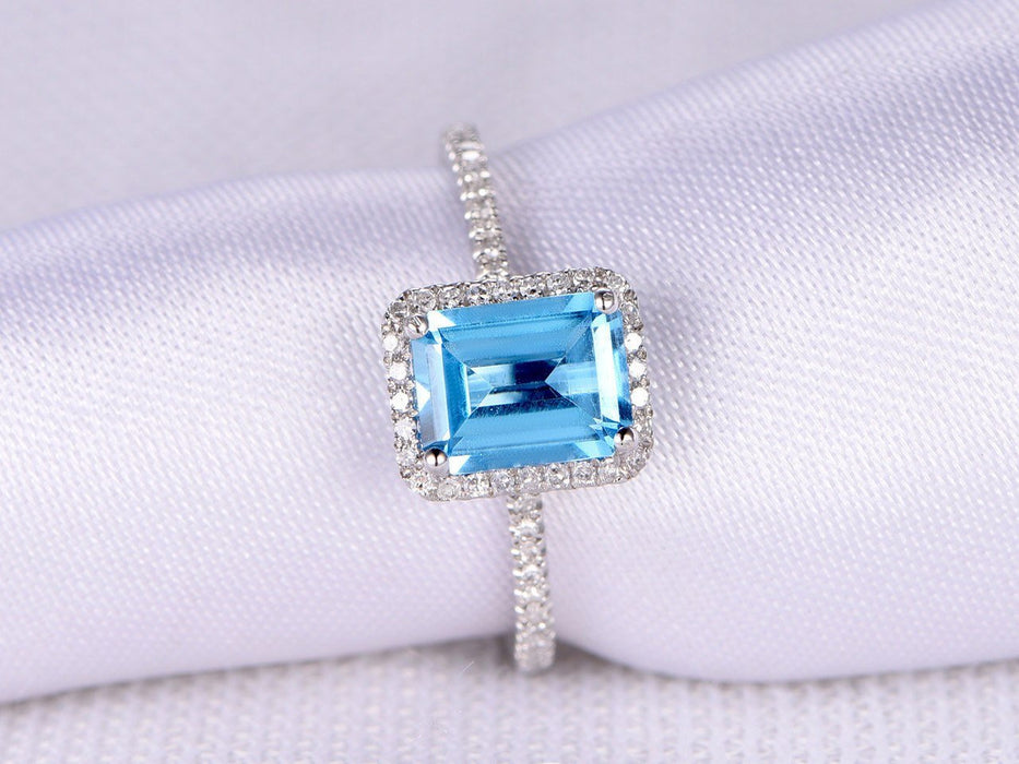 1.50 Carat Emerald Cut Sky Topaz Engagement Ring in White Gold
