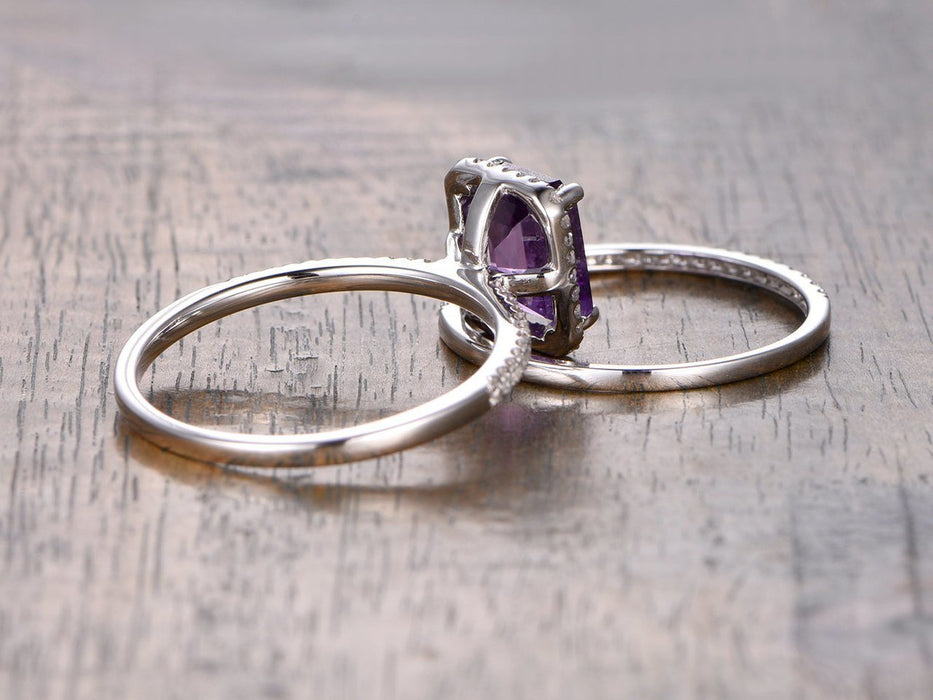 1.50 Carat Emerald Amethyst and Diamond Wedding Ring Set in White Gold