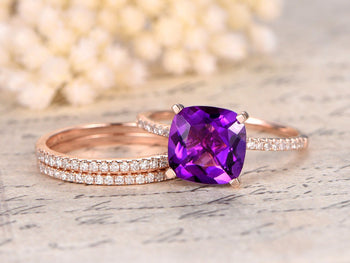 Perfect 2 Carat Cushion Amethyst and Diamond Trio Wedding Bridal Ring Set in Rose Gold