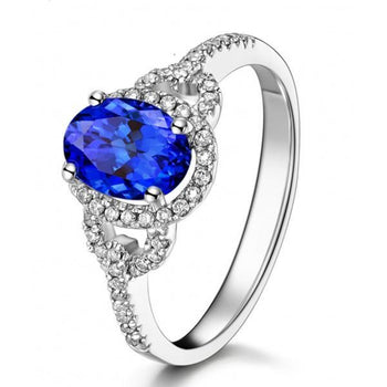 Just Perfect 1 Carat Blue Sapphire and Diamond Halo Engagement Ring