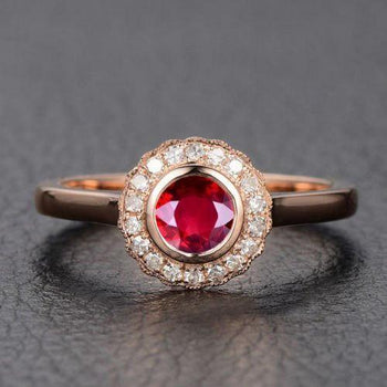 Limited Time Sale: 1.25 Carat Antique Design Vintage Red Ruby & Diamond Halo Engagement Ring