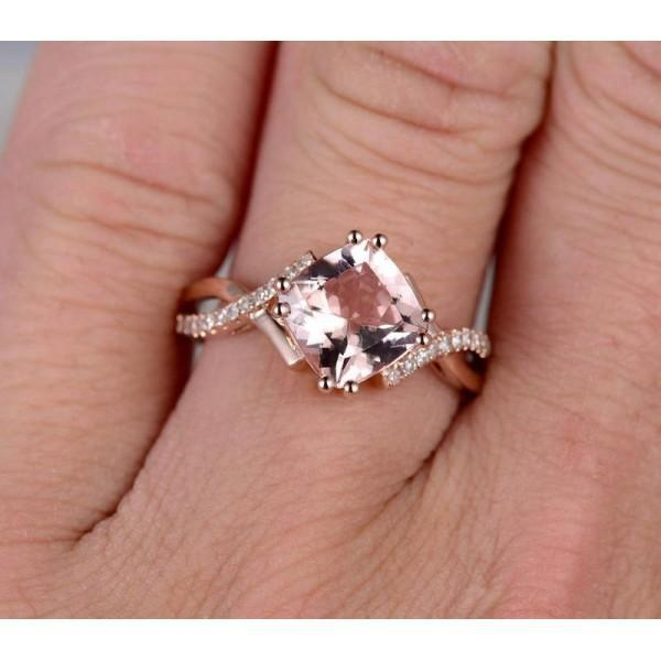 Limited Time Sale 1.25 Carat Cushion Cut Morganite and Diamond Infinity Engagement Ring