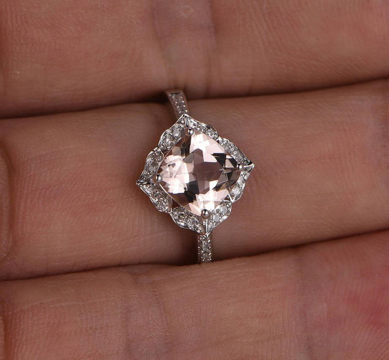 Limited Time Sale: 1.25 Carat Cushion Cut Peach Pink Morganite and Diamond Engagement Ring