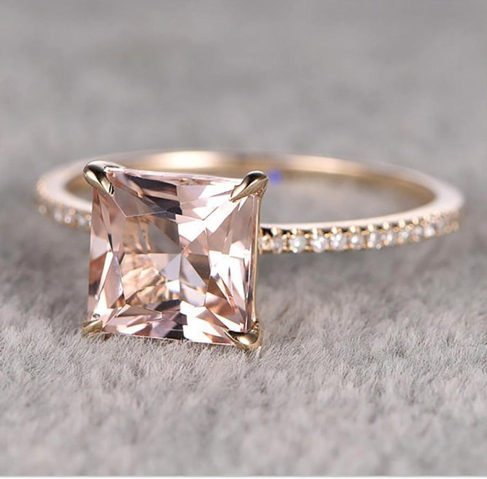Limited Time Sale: 1.25 Carat Peach Pink Morganite (Princess Cut Morganite) and Diamond Engagement Ring