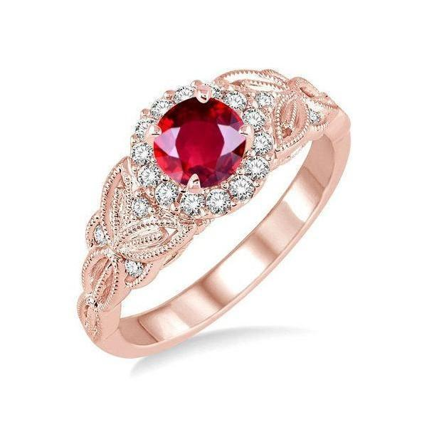 Wedding Ring On Sale.Limited Time Sale 1 25 Carat Red Ruby And Diamond Engagement Ring In 9k Rose Gold For Women On Sale
