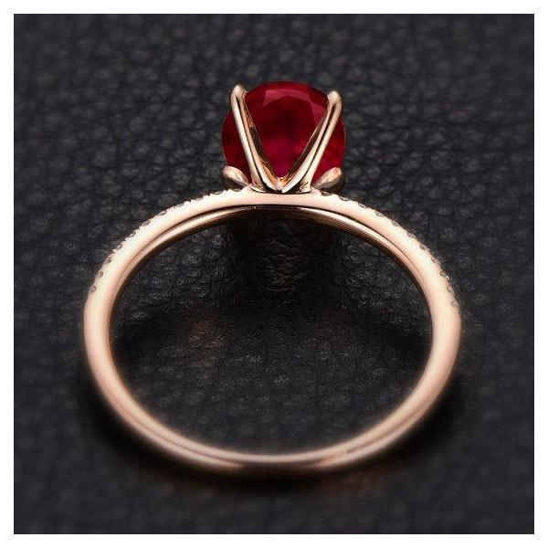 Limited Time Sale: 1.25 Carat Red Ruby and Diamond Engagement Ring in 9k Rose Gold for Women on Sale