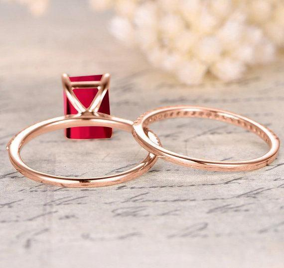 Limited Time Sale: 1.25 Carat Red Ruby (Emerald cut Ruby) and Diamond Engagement Bridal Wedding Ring Set in Rose Gold