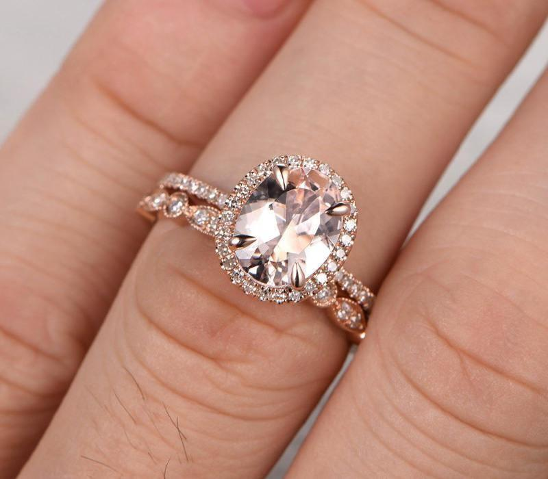 Engagement Ring And Wedding Band.Limited Time Sale 1 50 Carat Morganite And Diamond Wedding Bridal Ring Set In Rose Gold One Engagement Ring Wedding Band