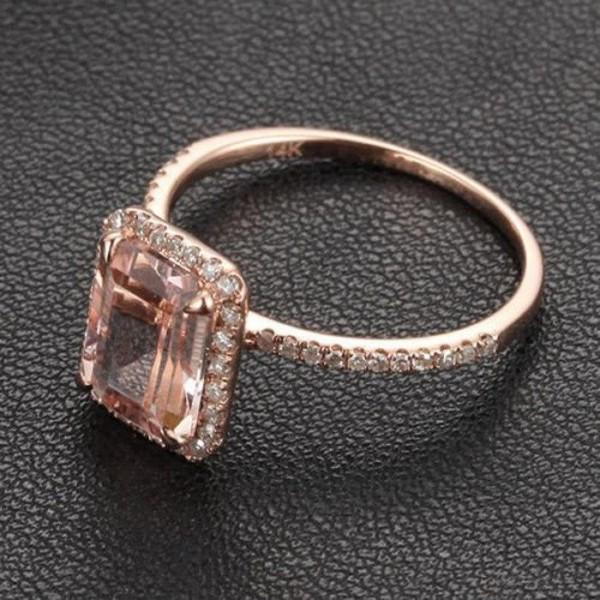 Limited Time Sale: 1.50 Carat Emerald Cut Peach Pink Morganite and Diamond Engagement Ring