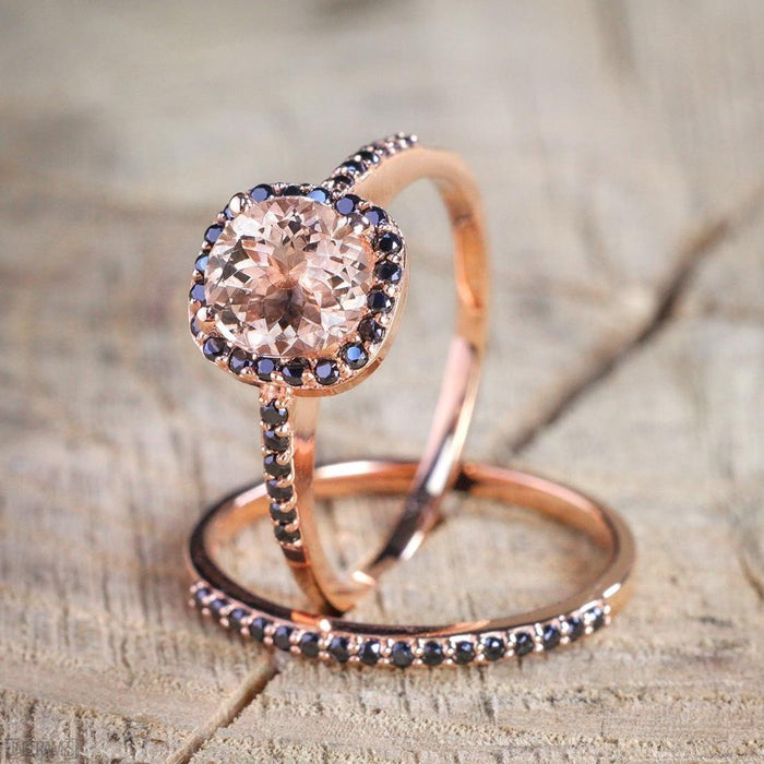 Limited Time Sale 2 Carat Round Cut Peach Pink Morganite and Black Diamond Engagement Bridal Ring Set in Rose Gold