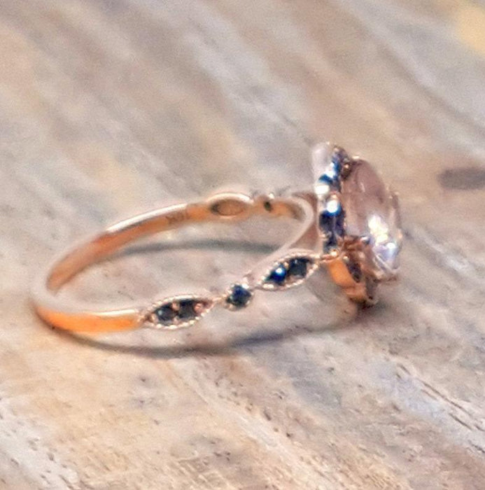 Limited Time Sale Antique 1.25 Carat Morganite and Black Diamond Engagement Ring