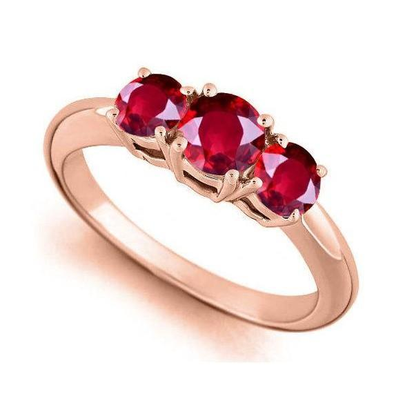Limited Time Sale: Trilogy Three Stone 1 Carat Red Ruby Engagement Ring